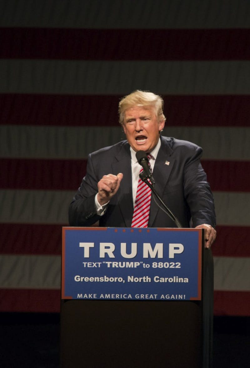 Republican presidential candidate Donald Trump spoke in the Greensboro Coliseum on Tuesday, June 14th.