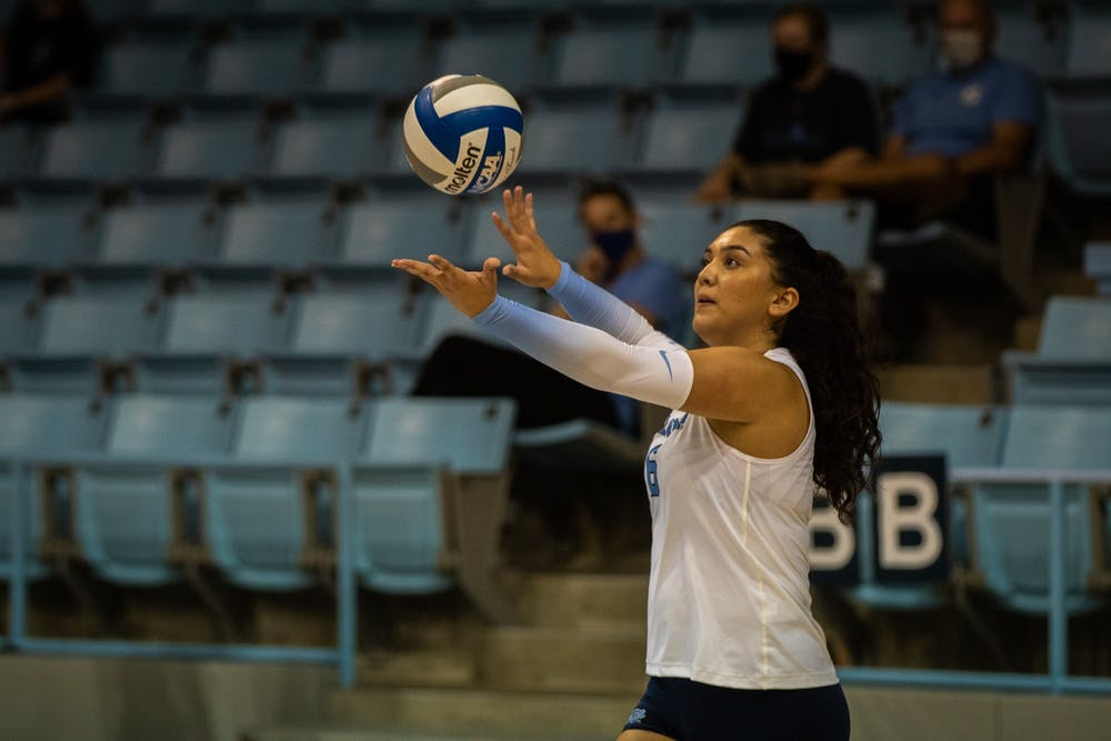 In the Sept. 18 game against Davidson, junior middle blocker Niki Khoshatefeh (6) serves the ball. UNC won three out of three sets.