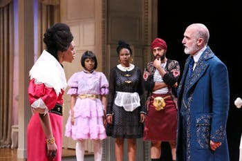 "Nemuna Ceesay as Elmire, April Mae Davis as Mariane, Shanelle Nicole Leonard as Dorine, Rishan Dhamija as Cleante and Ray Dooley as Orgonin PlayMakers Repertory Company's production of Molière's ""Tartuffe"" adapted by David Ball and directed by Saheem Ali. Photo by HuthPhoto."