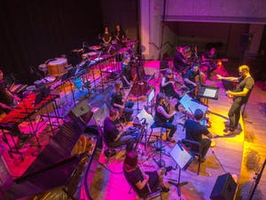 Christopher Roundtree conducts wild Up: West , a contemporary music ensemble from Los Angeles as they perform a concert at Roulette, part of the Sonic Music Festival, on October 20, 2015. Photo Credit: ©Stephanie Berger.