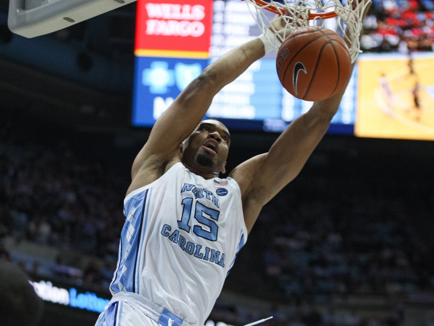 UNC's junior forward Garrison Brooks (15) dunks the ball during a game against Gardner-Webb on Friday, Nov. 15, 2019.