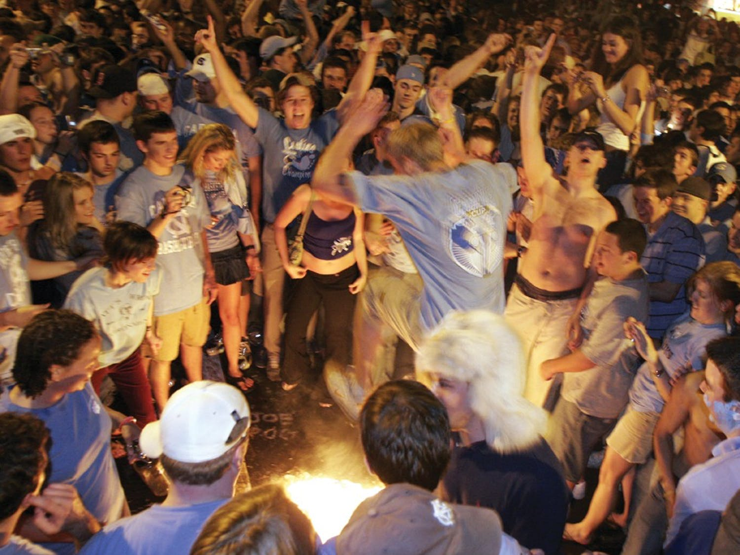 Fans celebrate Roy Williams' first championship win on Franklin Street. DTH/file