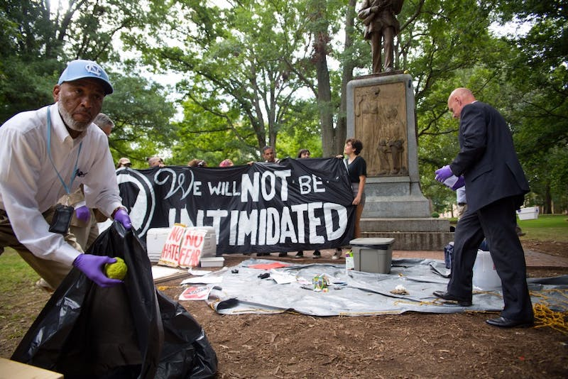 DPS came to McCorkle Place to vacate the immediate area surrounding the Silent Sam statue Aug. 31, 2017.