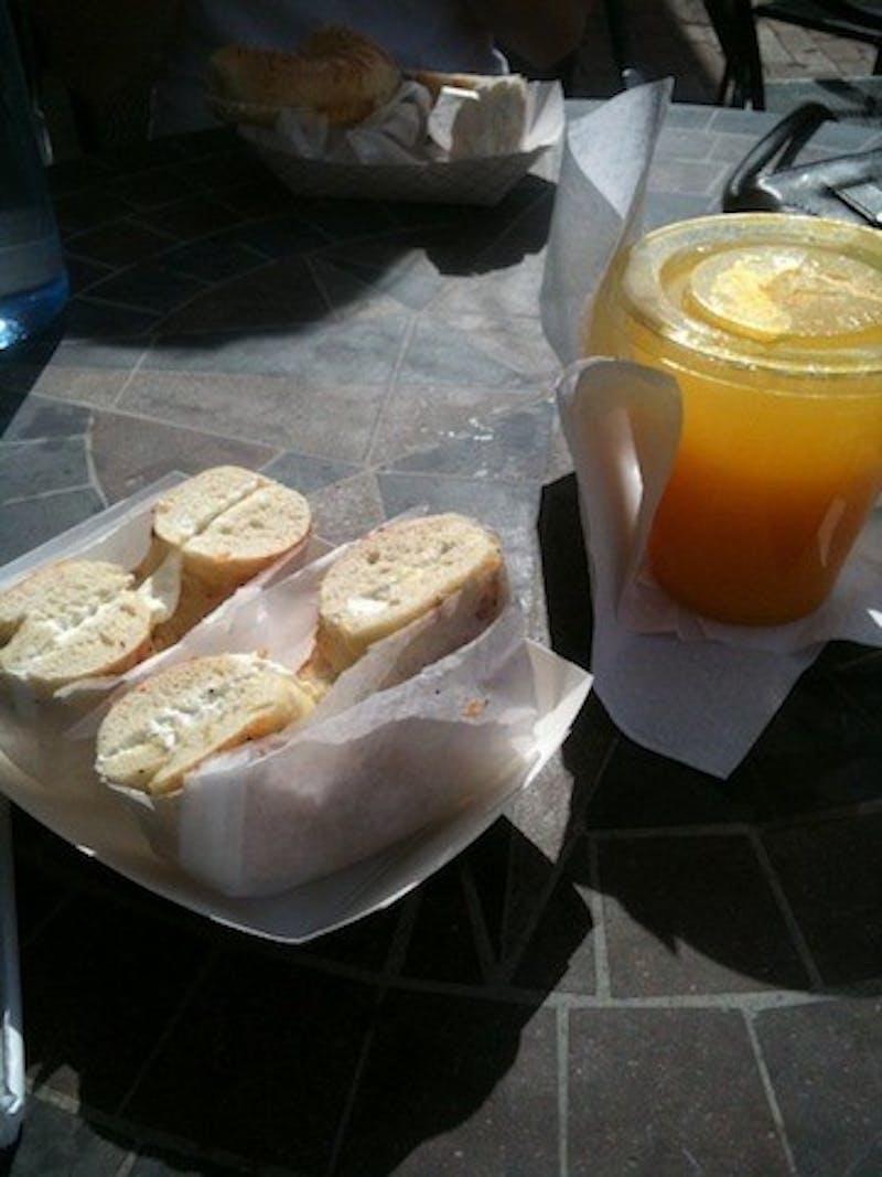 Alpine bagels and freshly squeezed orange juice.