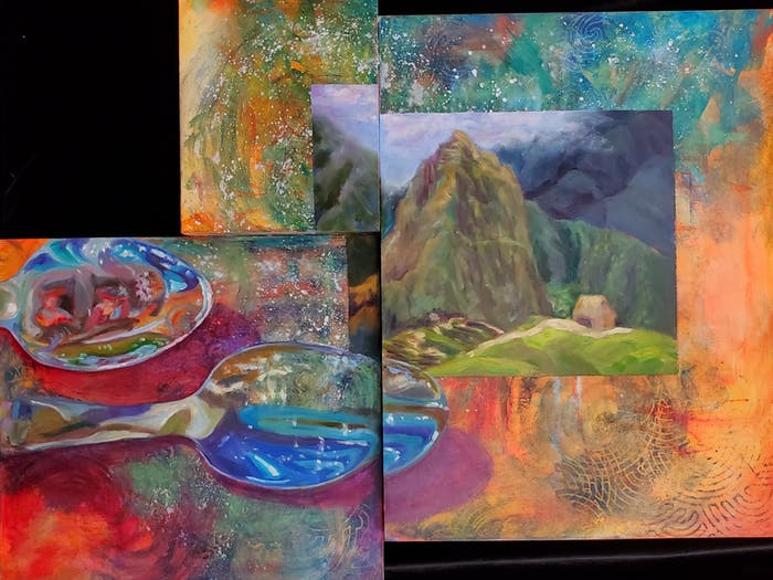 Some of the artwork by UNC graduate Oona Lewis that will be on display at her art exhibit at the Vecino Brewing Co. in Carrboro that will benefit Nepali human trafficking. Photo courtesy of Oona Lewis.