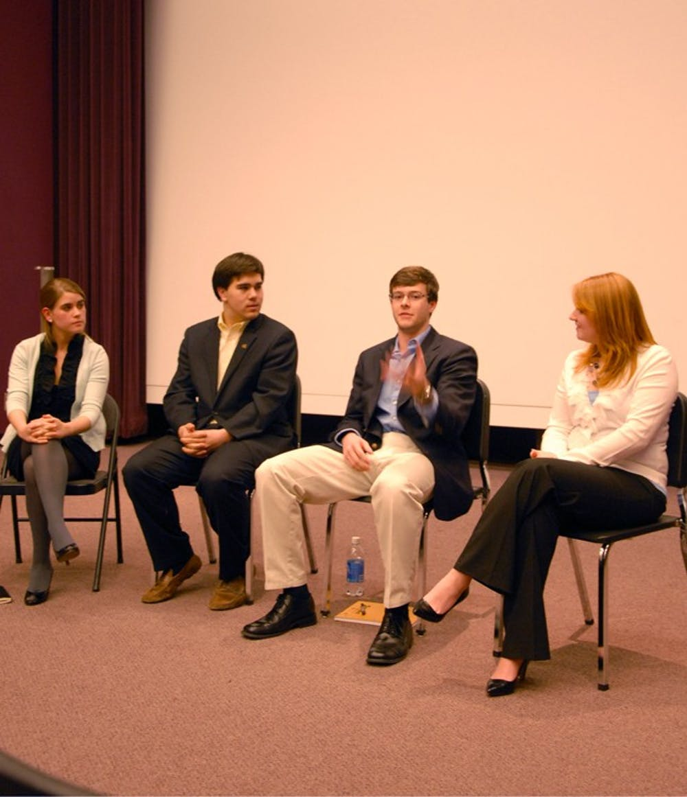Mary Cooper, Ian Lee, Rick Ingram and Brooklyn Stephens voice their goals and opinions at the College of Republicans meeting that took place at 6 pm in the Haynes Art Center.