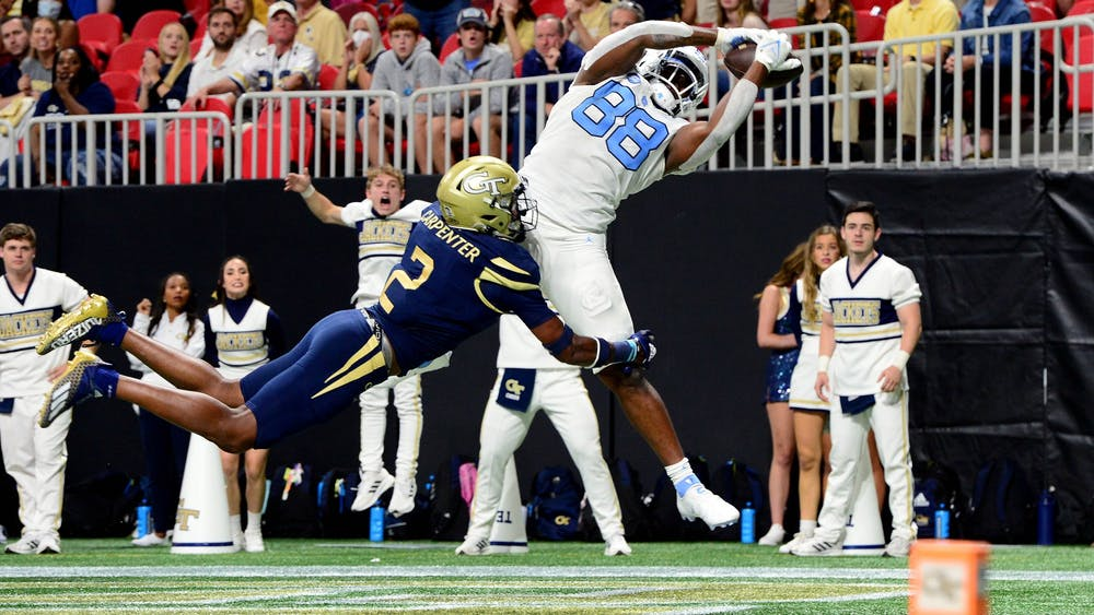 UNC sophomore tight end Kamari Morales (88) intercepts a long pass during the Tar Heels' away game against Georgia Tech in the Mercedes-Benz Stadium in Atlanta, GA, on Sept. 25, 2021. Photo Courtesy of UNC Athletic Communications.