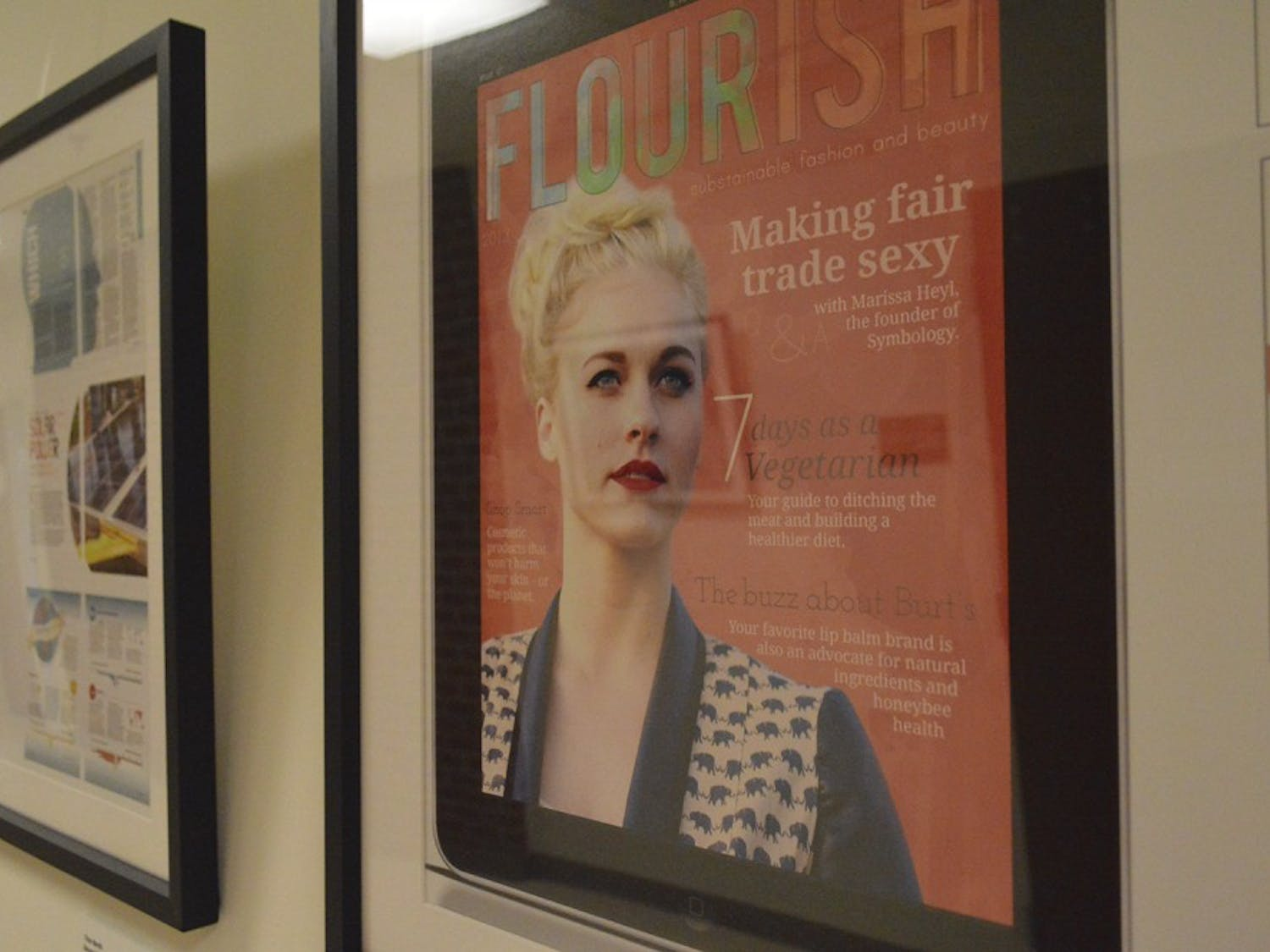 The covers of fashion magazines hang framed in the halls of the UNC School of Media and Journalism. The school recently received a one million dollar donation by alumni Leigh and Bill Goodwyn to start a fashion program in the school.