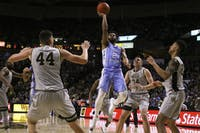 UNC guard Joel Berry (2) goes up to lay the ball against Wake Forest on Wednesday night.
