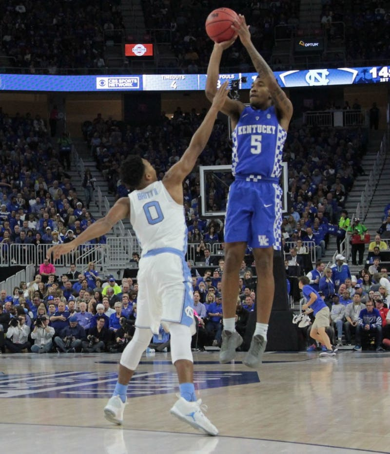 Kentucky guard Malik Monk (5) pulls up for a contested three-pointer against UNC at the CBS Sports Classic on Saturday.