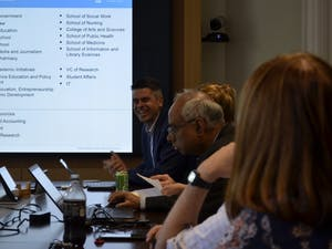 Senior Vice Provost for Business Operations, Rick Wernoski speaks Monday, Oct. 22, 2018 at the Faculty Executive Council meeting.