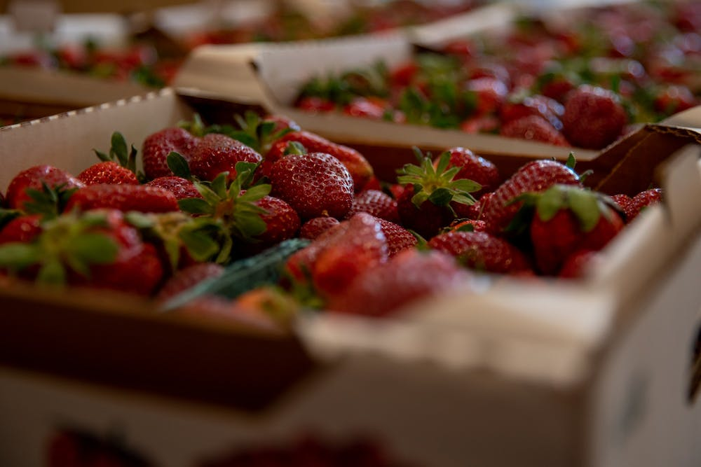 Strawberries wait to be bought at Jean's Neighborhood Market in Apex. As the weather warms, berry picking in the Chapel Hill area becomes a popular activity.