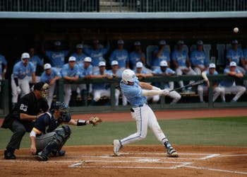 UNC first-year short stop Danny Serretti (1) at bat against UNCG in Boshamer Stadium on Wednesday, April 9, 2019. The Tar Heels beat the Spartans 17-4.