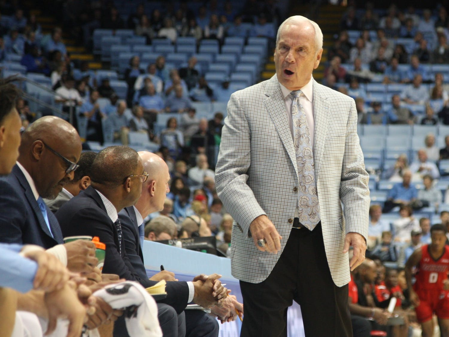 Head Coach Roy Williams yells at the bench during the exhibition game against Winston-Salem State in the Smith Center on Friday, Nov. 1, 2019. UNC beat WSSU 96-61.