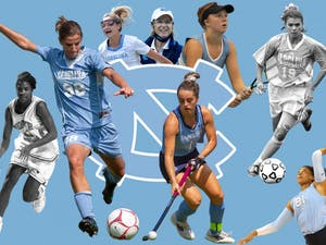 Graphic by Ira Wilder. Photos by Abe Loven, Brianna Ladd and Ira Wilder and courtesy of UNC Athletics and Dana Gentry.