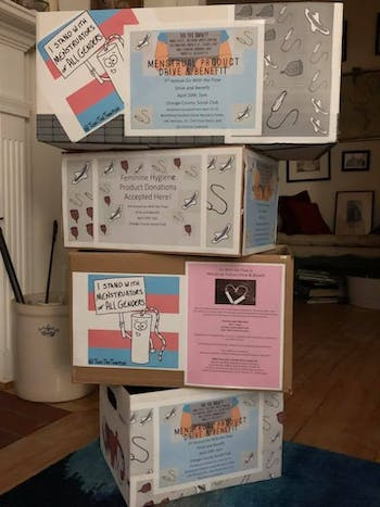 Donation boxes for Go With the Flow's Menstrual Product Drive and Benefit are located around Chapel Hill-Carrboro area. Photo courtesy of Allison De Marco.