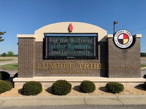 The Lumbee Tribe's tribal government office, pictured here on Thursday, April 16, 2020, is located in Pembroke, North Carolina. The Lumbee Tribe is a state-recognized tribe in North Carolina numbering approximately 60,000 enrolled members. Most of them live primarily Robeson County.