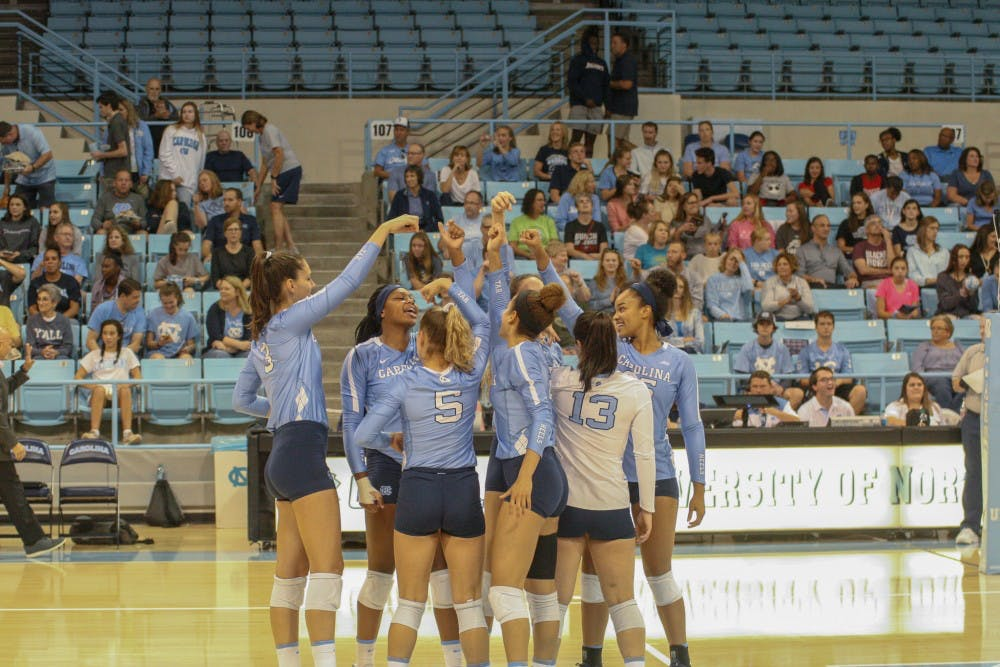 Austin, Harrison dominate in UNC volleyball's 3-1 win over Hokies