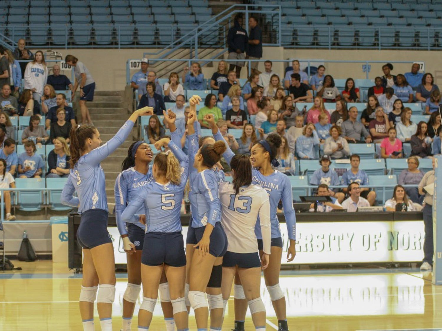 The UNC volleyball team prepares to take on Virginia Tech on Sunday, Oct. 6, 2019 at Carmichael Arena.