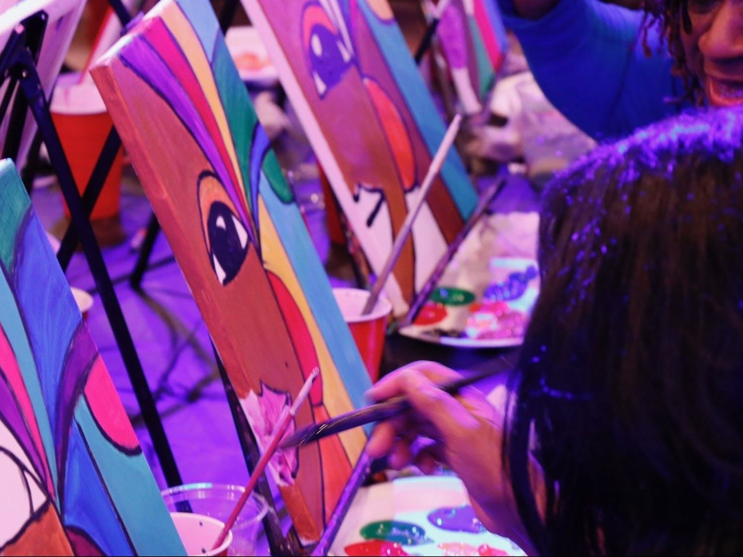 Attendees of The House Restaurant and Lounge's Paint n' Sip event on Jan. 25, 2020 can choose to paint a king, queen or an African mask template. Photo courtesy of Justin Q. Young.