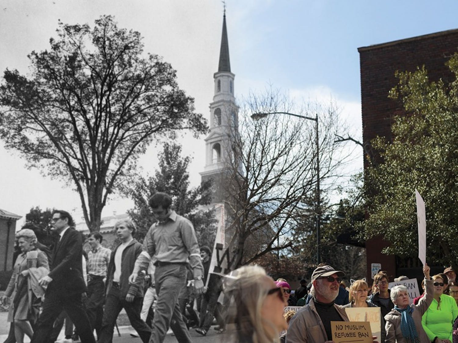 (DTH Photo Illustration/José Valle; original photos DTH file/Barron Northrup and courtesy of UNC Archives)
