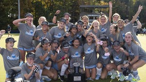 UNC field hockey celebrates following their win against Louisville in the ACC Field Hockey Championship on Nov. 8, 2020 in Karen Shelton Stadium. UNC beat Louisville 4-2, securing their fourth consecutive tournament championship.