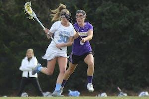 Sophomore midfielder Alex Moore (30) has scored 13 goals for the North Carolina women's lacrosse team this season.