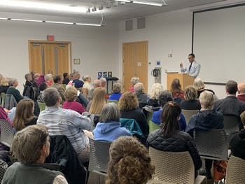 William Sturkey, an assistant history professor at UNC, gives a talk about the history of race at UNC and the University's failures to reconcile it. The talk was at Chapel Hill Public Library on Tuesday, Feb. 18, 2020.