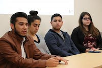 Michael Sosa (far left), UNC junior and president of Mi Pueblo, addresses the crowd at a forum on Thursday, Nov. 29 2018. The forum was held to discuss the need of a Latinx space on campus for the increasing Latinx population.
