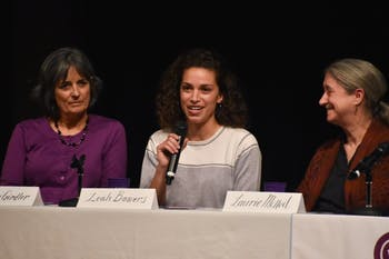 Leah Bowers (center), alongside Susan Girdler (left) and Laurie McNeil (right), speaks at the Gender & Stem seminar on Wednesday, Nov. 28,2018 at the Stone Center.