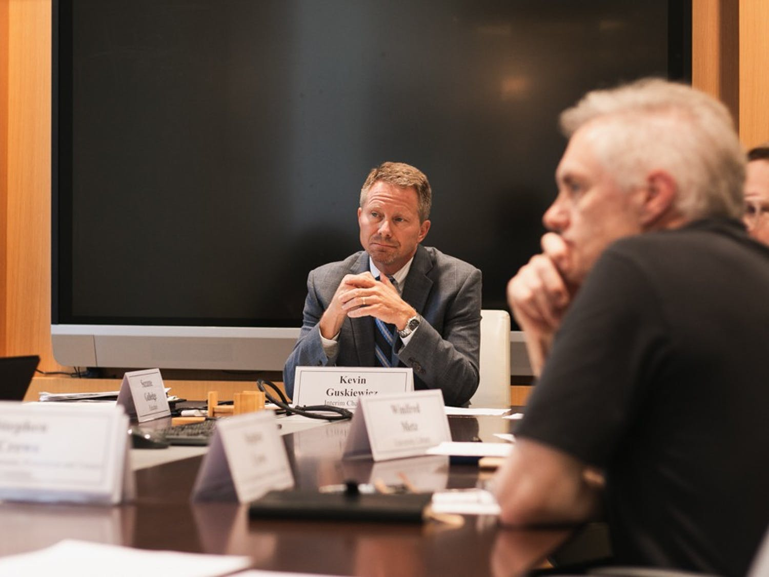 Interim Chancellor Kevin Guskiewicz hears from the Chancellor's Advisory Committee in the conference room of South Building in Chapel Hill on Tuesday, Sept. 24, 2019.