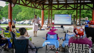 Diane Robertson speaks at the Good Trouble Rally and Celebration of John Lewis's Legacy in Carrboro on Saturday July 17, 2021. Photo courtesy of Trevor Holman.
