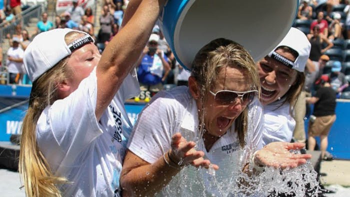 UNC women's lacrosse coachJenny Levy is given a Gatorade bath by players Caylee Waters (right) and Naomi Lerner (left).The North Carolina women's lacrosse team defeated Maryland 13-7 to capture the NCAA championship on Sunday at Talen Energy Stadium in Chester, PA.