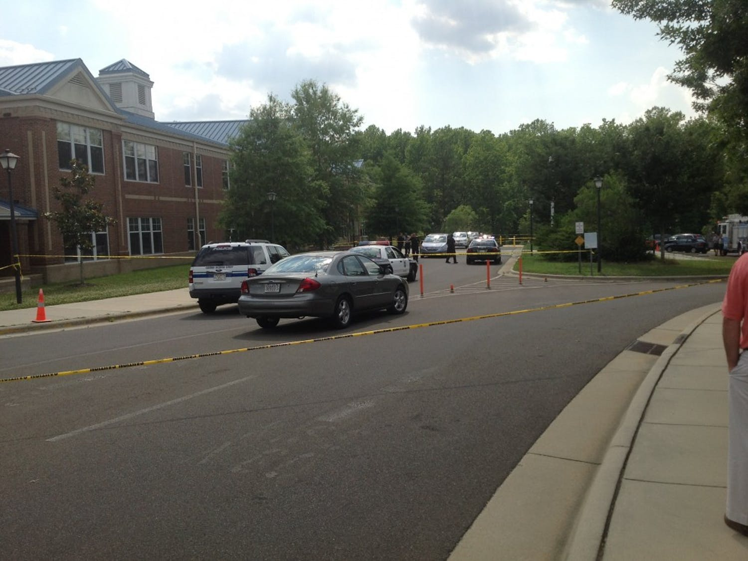 Police at Mary Scroggs Elementary School after a shooting on the afternoon of May 25.