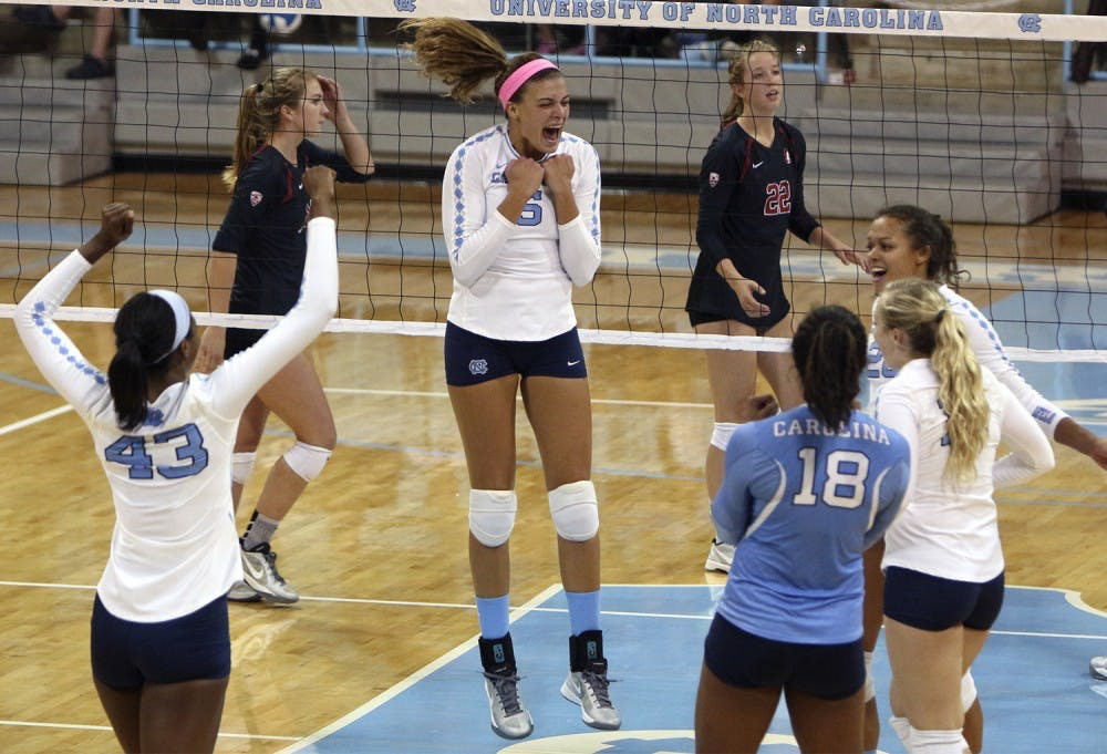 UNC volleyball team defeated the No. 3 Cardinal in straight sets