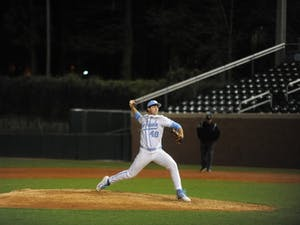 UNC first-year Connor Ollio (48) pitches during a game against UMass Lowell on Saturday, March 2, 2019, in the second game of a double header. No. 5 UNC defeated UMass Lowell twice in a double header (5-0 and 14-7) at home in Boshamer Stadium.