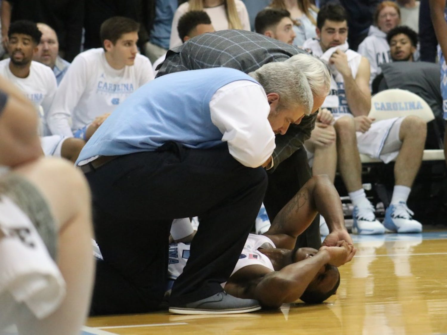 UNC guard Kenny Williams (24) falls after hurting his ankle against Tennessee Tech on November 16th in the Dean Dome.