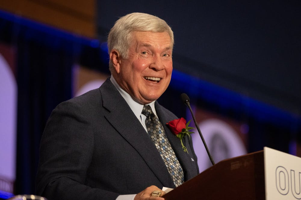 Mack Brown, head coach of UNC's football team, delivers an acceptance speech at the North Carolina Sports Hall of Fame induction ceremony Friday.