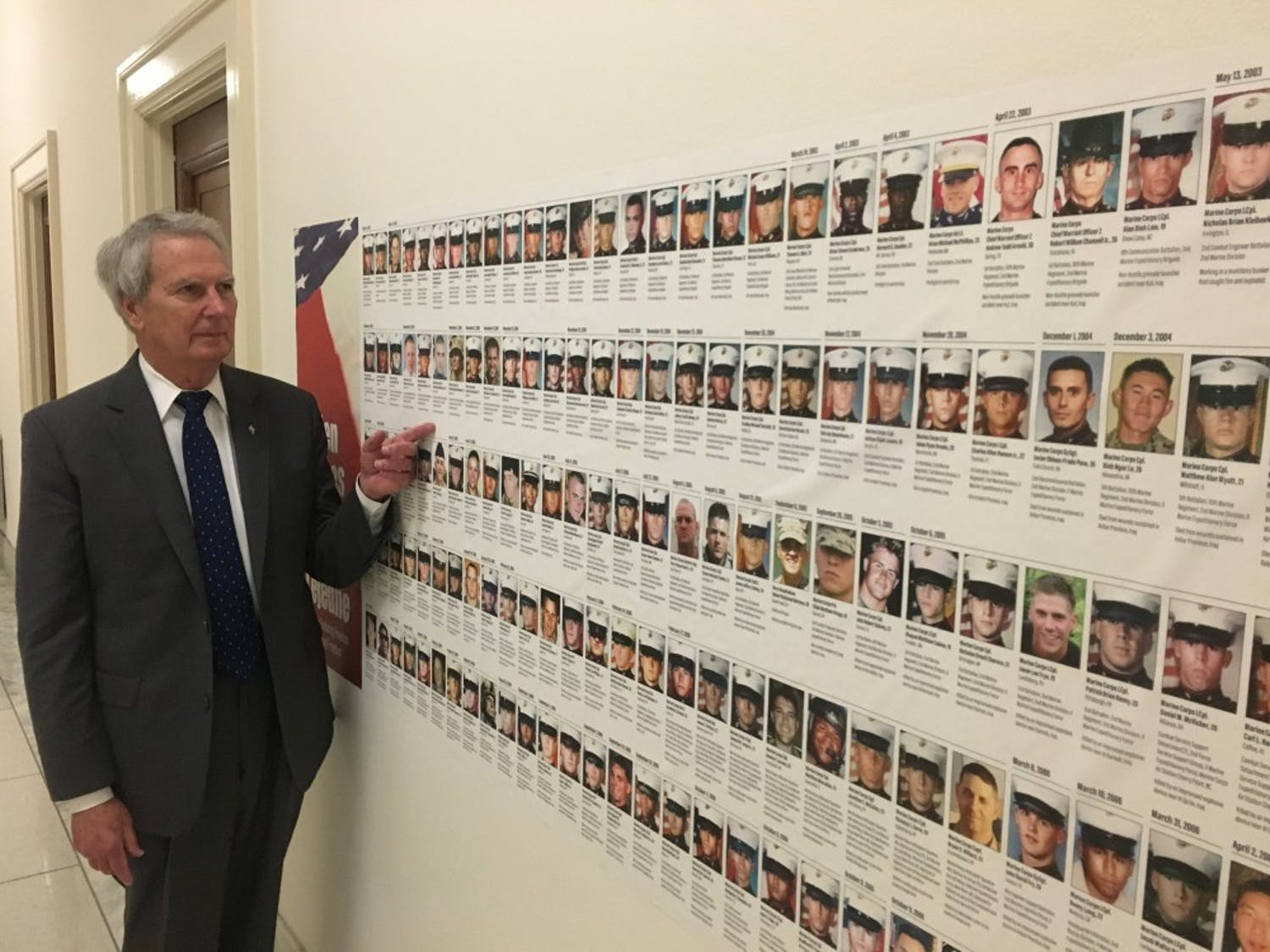 U.S. Rep. Walter Jones, R-N.C., stands in front of a wall of photos of fallen soldiers outside his office. Jones sends condolence letters to the families of soldiers who have died in the Middle East because of his decision to vote in favor of the Iraq war in 2002. Photo courtesy of Allison Tucker.