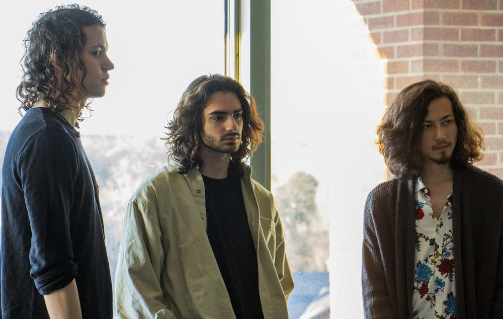 <p>(From left) Sam Gatlin, Danny Knutelsky and Bryton Shoffner, pose for their band album cover, The Magnolias on Friday, Feb. 14, 2020.</p>