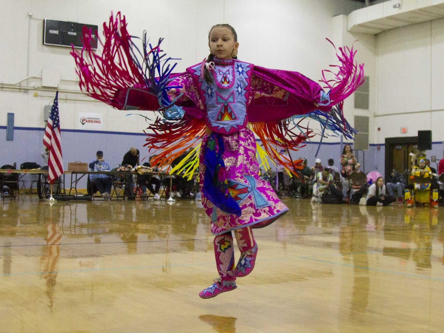 Hollister resident Linzie Evans, 10, and member of the Haliwa-Saponi tribe dances during the Carolina Indian Circle's 33rd Annual Powwow in Fezter Gym on Saturday, Feb. 29, 2020.