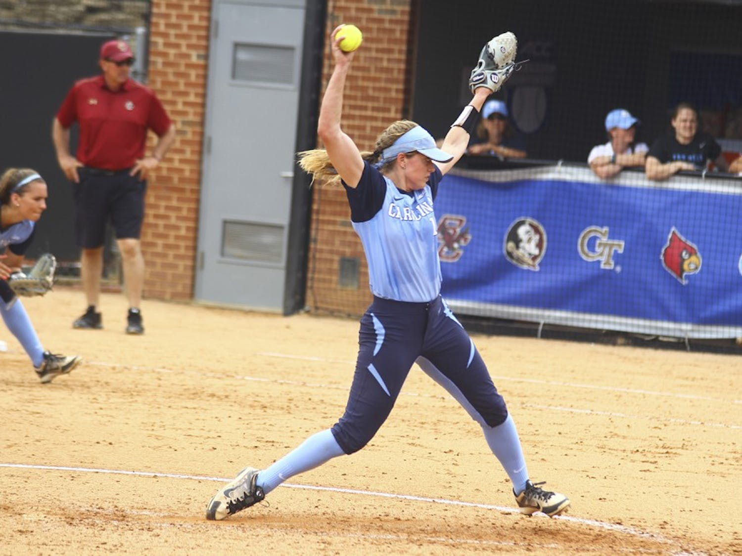 Junior Kendra Lynch pitches in the ACC Softball Tournament held in Raleigh on Thursday