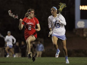 Kara Cannizzaro protects the ball earlier this season. She scored three goals at No. 1 Maryland.