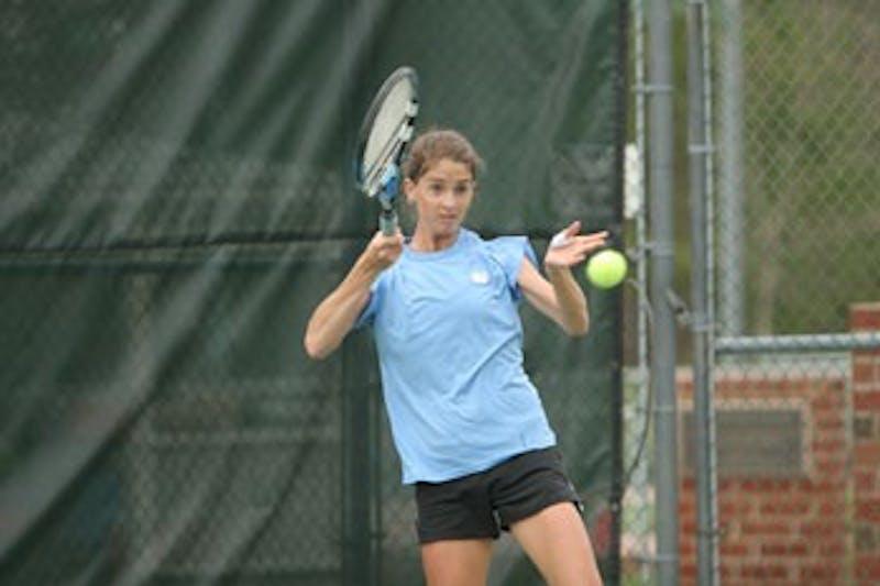 "North Carolina senior Meg Fanjoy sealed Sunday?s 4-3 victory for the Tar Heels with a singles win against UVa.?s Karoline Steiro in the No. 6 matchup; 7-5"" 4-6 7-5."