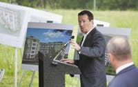 Loren P. King, COO and General Counsel for Trinitas, speaks at Wednesday's groundbreaking. Photo courtesy Kevin Seifert, Kevin Seifert Photography.