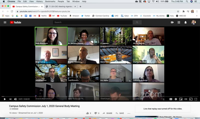 Screenshot from the virtually-held Campus Safety Commission meeting on Wednesday, July 1, 2020.