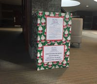 A donation bin for the UNC Children's Hospital Toy Drive sits at the main entrance of the UNC Friday Center on Sunday, Nov. 18, 2018. The drive began on Nov. 14th and will continue accepting donations until Dec. 14th.