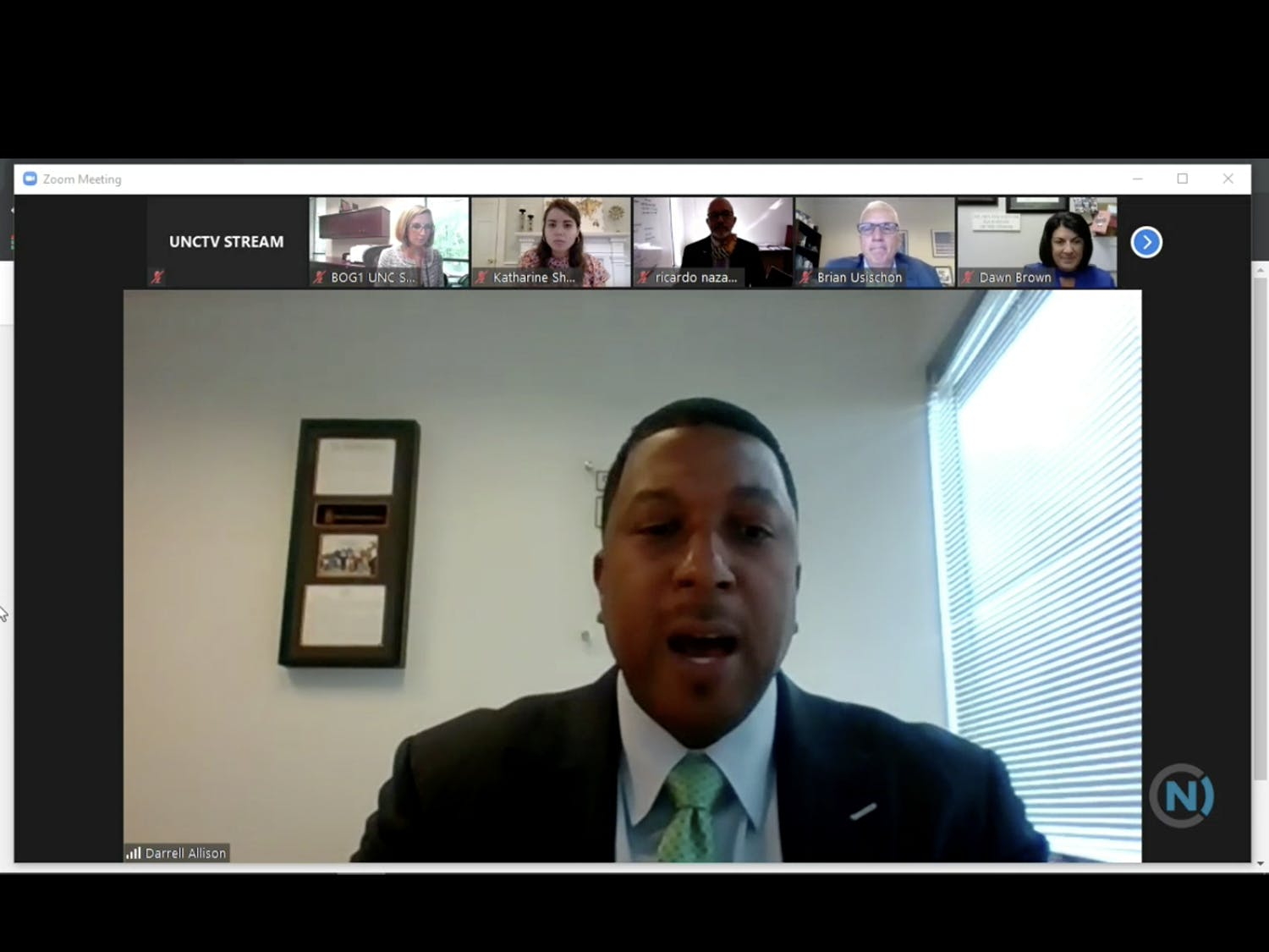 UNC Board of Governors Racial Equity Task Force chair Darrel Allison speaks at the virtual meeting on Thursday, July 9, 2020.