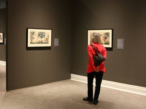 """""""Flash of Light, Fog of War: Japanese Military Prints, 1894-1905"""" will be on display at the Ackland Art Museum until Jan. 7. Photo by SP Murray, courtesy of the Ackland Art Museum."""