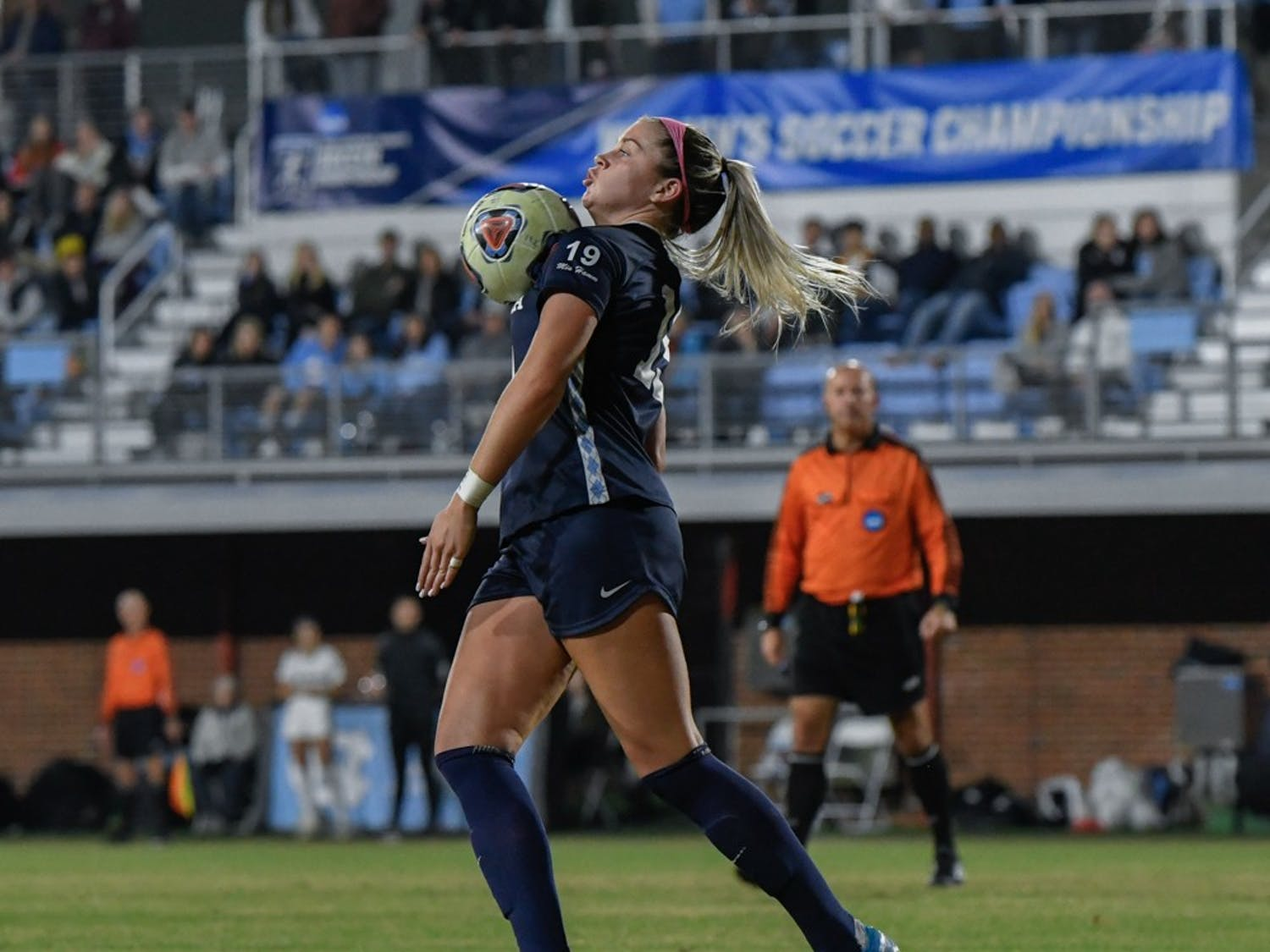 UNC Forward Alessia Russo (19) traps the ball out of the air to progress an offensive push.  North Carolina defeated Colorado 1-0 at Chapel Hill in the second round of the NCAA Women's soccer tournament on Friday, Nov. 22, 2019.